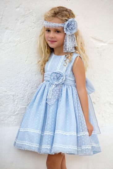 Vestido 22416, color 0003 Azul- Talla: 1, 2, 3, 4, 5, 6, 8, 10 Colección Amaya