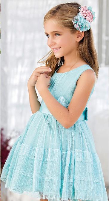 Vestido 22418, color 0096 Verde agua- Talla: 1, 2, 3, 4, 5, 6, 8, 10 Colección Amaya