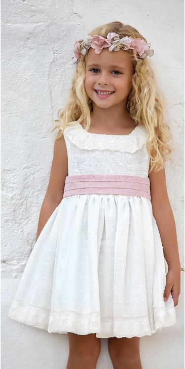 Vestido 22432, color 1202 Crudo rosa- Talla: 1, 2, 3, 4, 5, 6, 8, 10 Colección Amaya
