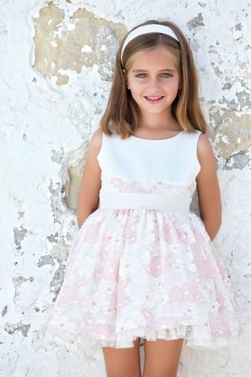 Vestido 22412, color 0100 Rosa palo- Talla: 1, 2, 3, 4, 5, 6, 8, 10 Colección Amaya