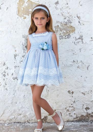 Vestido 22413, color 0003 Azul- Talla: 1, 2, 3, 4, 5, 6, 8, 10 Colección Amaya