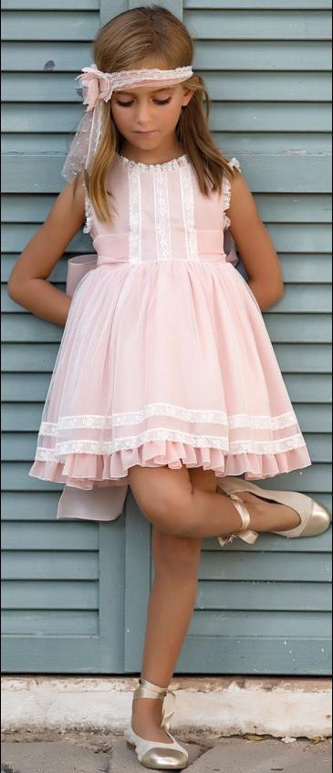 Vestido 22414, color 0032 Salmón rosa- Talla: 1, 2, 3, 4, 5, 6, 8, 10 Colección Amaya