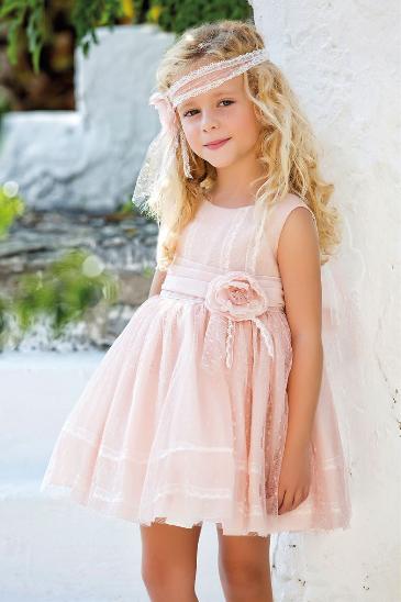 Vestido 22416, color 0100 Rosa palo- Talla: 1, 2, 3, 4, 5, 6, 8, 10 Colección Amaya
