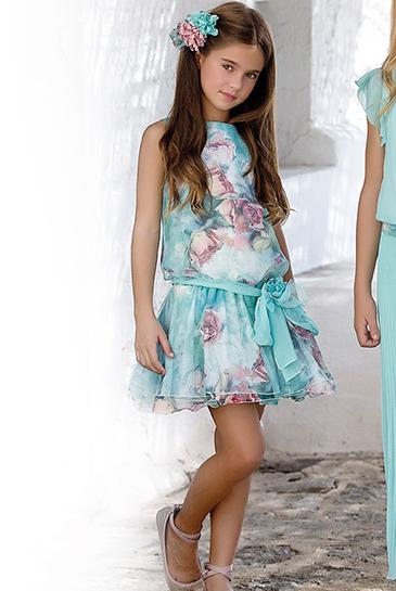 Vestido 22702, color 0096 Verde agua- Talla: 4, 6, 8, 10, 12, 14, 16, 18 Colección Amaya