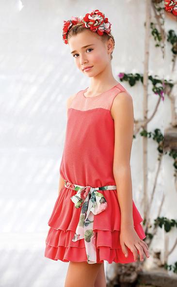 Vestido 22721, color 0056 Coral- Talla: 4, 6, 8, 10, 12, 14, 16, 18 Colección Amaya